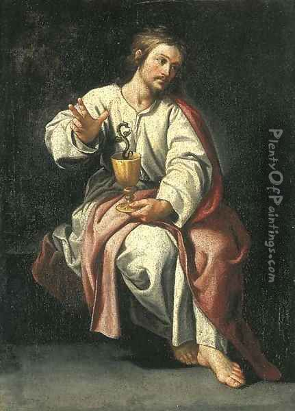 Saint John the Evangelist and the poisoned chalice Oil Painting - Alonso Cano