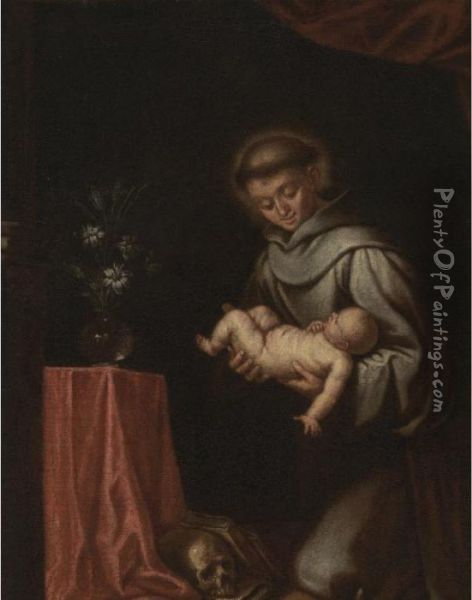 St. Anthony Of Padua With The Christ Child Oil Painting - Alonso Cano