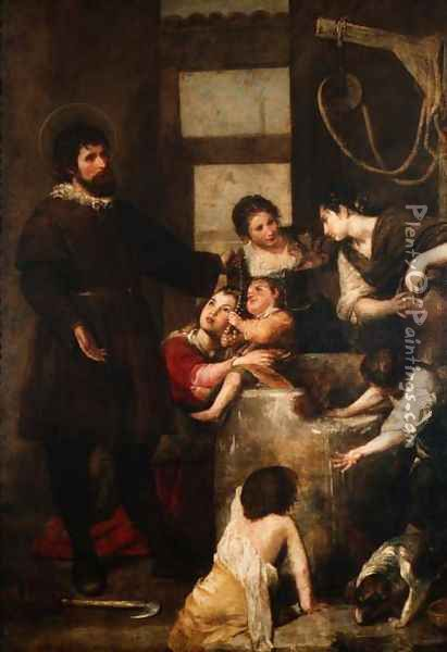 St. Isidore saves a child that had fallen in a well, 1646-48 Oil Painting - Alonso Cano