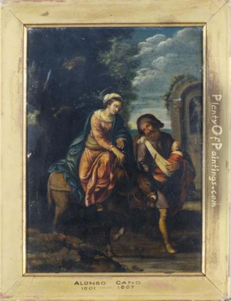 The Flight Into Egypt Oil Painting - Alonso Cano