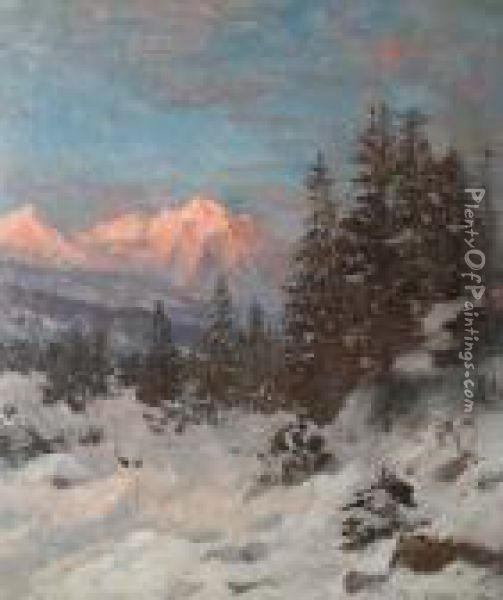 A Mountain Sunset Oil Painting - Anders Anderson-Lundby