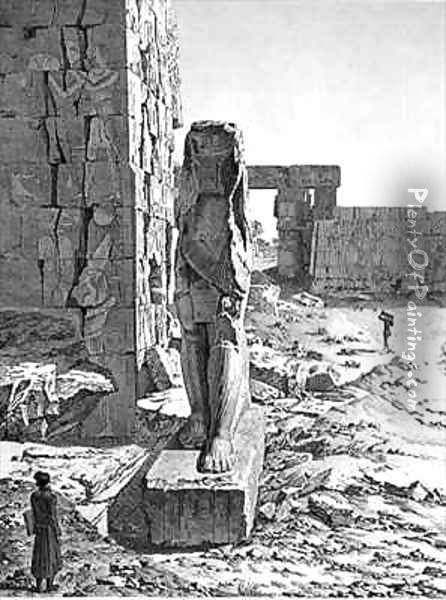 View of the Colossus at the entrance to the hypostyle halls of the palace at Karnak Thebes Oil Painting - Andre Dutertre