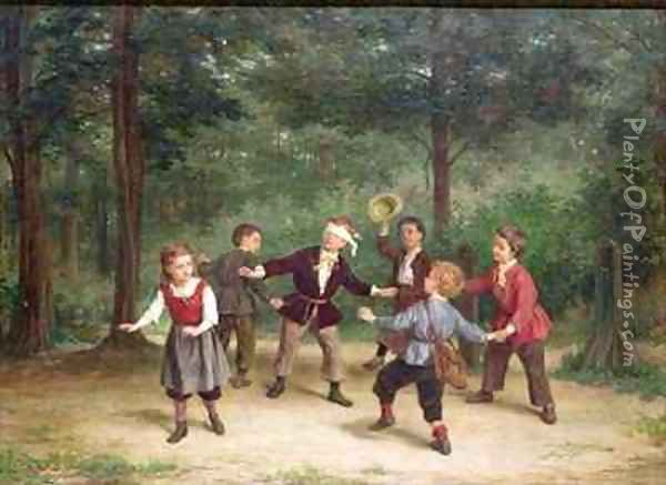 Blind Mans Buff 91316me children playing wood male female dlindfold colin maillard Oil Painting - Andre Henri Dargelas
