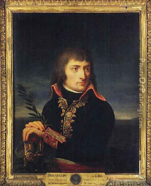 Portrait of Napoleon Bonaparte, his hands resting on the hilt of a sword, before a landscape Oil Painting - Andrea, the Elder Appiani