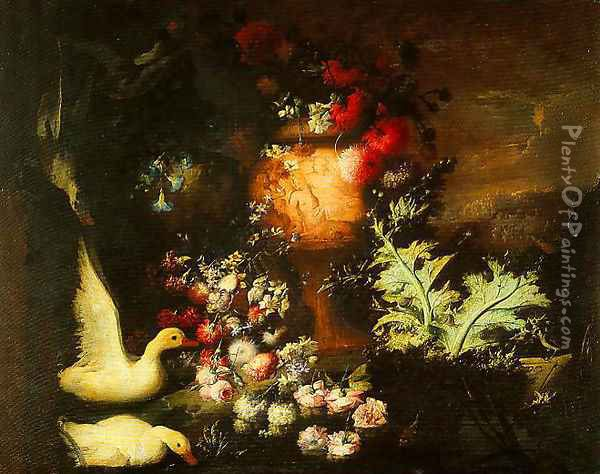 Composition with Ducks Cascade of Flowers on Water and Engraved Vase with Flowers and Thistle Leaves Oil Painting - Andrea Belvedere