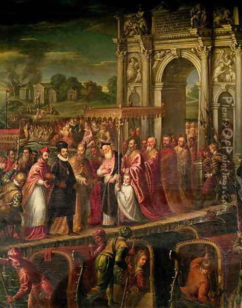 King Henri III 1551-89 of France visiting Venice in 1574, escorted by Doge Alvise Mocenigo 1570-77 and met by the Patriarch Giovanni Trevisan, from the Room of the Four Doors Oil Painting - Andrea Michieli (see Vicentino)