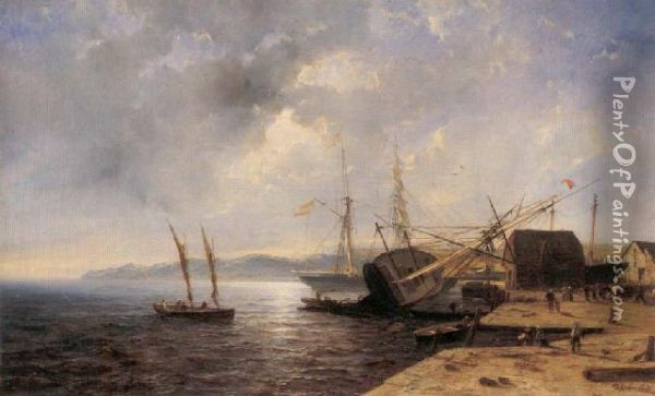 Boote Im Hafen Oil Painting - Andreas Achenbach