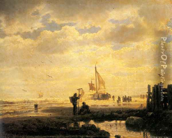 Bringing In The Catch Oil Painting - Andreas Achenbach