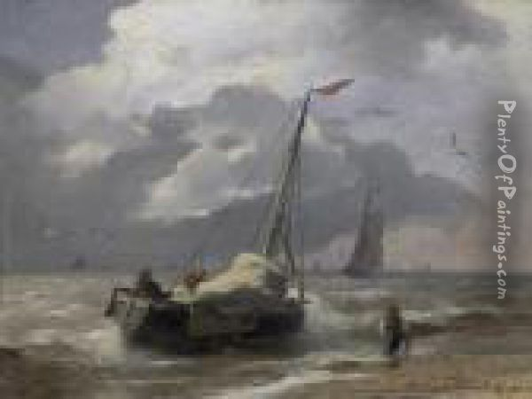 Fishermen Returning. Signed And Dated Bottom Right: A. Achenbach. Oil Painting - Andreas Achenbach