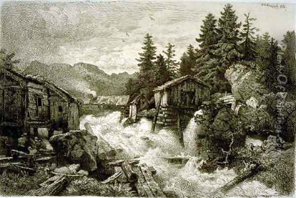 Logging Camp Oil Painting - Andreas Achenbach