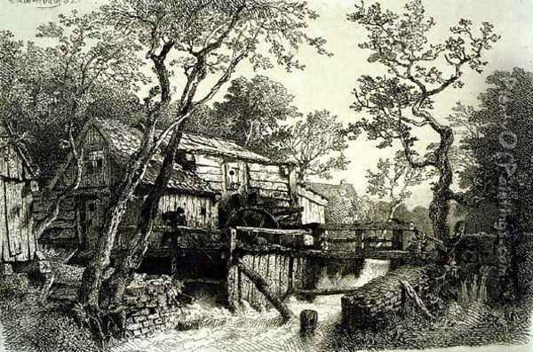 Mill Beside A Stream Oil Painting - Andreas Achenbach
