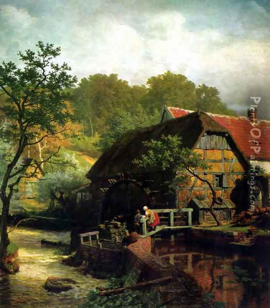 Westfalische Wassermuhle Oil Painting - Andreas Achenbach