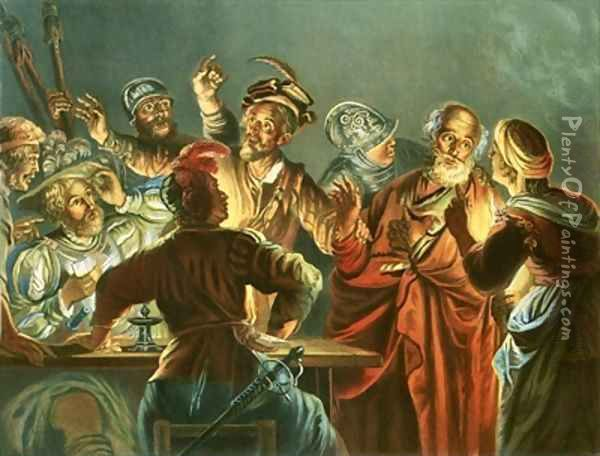 Peter denying Christ Oil Painting - Andreas Cellarius