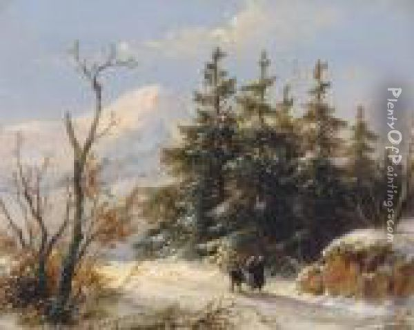 Wanderers On A Snow-covered Path Oil Painting - Andreas Schelfhout