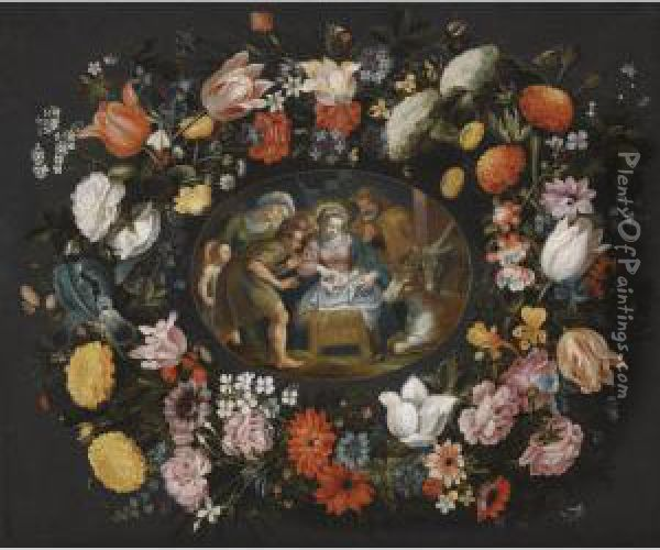 Adoration Of The Shepherds Surrounded By A Garland Of Flowers Oil Painting - Andries Snellinck