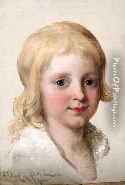 Portrait study of Francesco, Crown Prince of Naples, later King of the Two Sicilies (1777-1830), as a boy, head-and-shoulders Oil Painting - Angelica Kauffmann