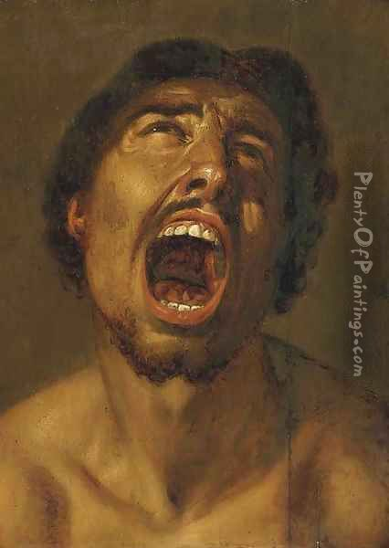 A man shouting Oil Painting - Annibale Carracci