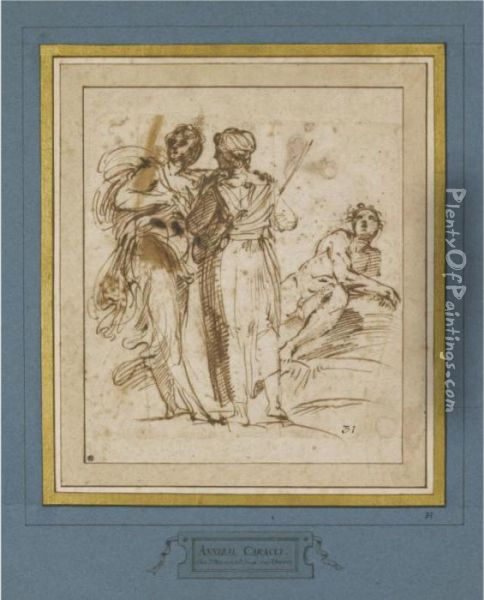 Two Standing Women And A Reclining Male Nude Oil Painting - Annibale Carracci