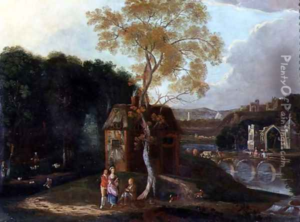 A Chinaman and Other Figures in a Capriccio River Landscape Oil Painting - Anonymous Artist