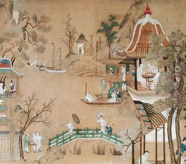 Detail of the wallpaper in the Chinese bedroom depicting a daily life scene, c.1760 Oil Painting - Anonymous Artist