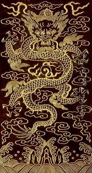 Dragon, cover of the end-folio of a 10 tablet book, 'The Song of the Jade Bowl', written by the Emperor Qianlong, 1745, Chinese Oil Painting - Anonymous Artist