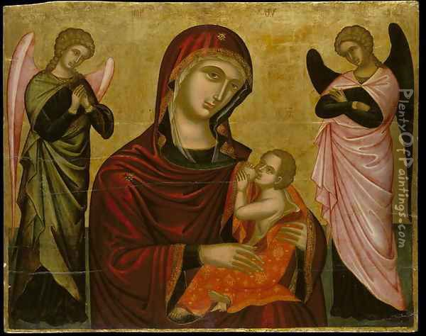 Icon of the Virgin Lactans with Two Angels Oil Painting - Anonymous Artist