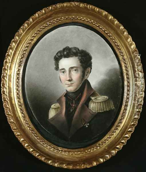Portrait of a Russian Officer, 1818 Oil Painting - Anonymous Artist