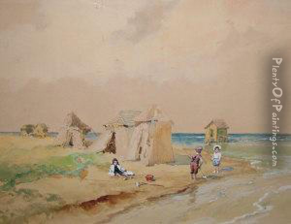 Hungarian -- Children Playing On  The Beach; Watercolour, Signed, 32x41cm: Together With A Collection Of  Early 20th Century Chromolithographs After Different Hands Oil Painting - Antal Neogrady