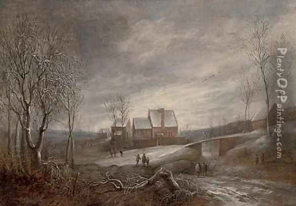 A wooded river winter landscape with figures on a track and men fishing on a frozen lake Oil Painting - Anthonie Beerstraten