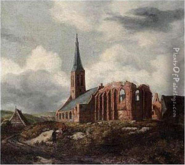 A Ruined Church Near Leiden With Two Travellers Resting By The Roadside Oil Painting - Anthonie Van Borssom