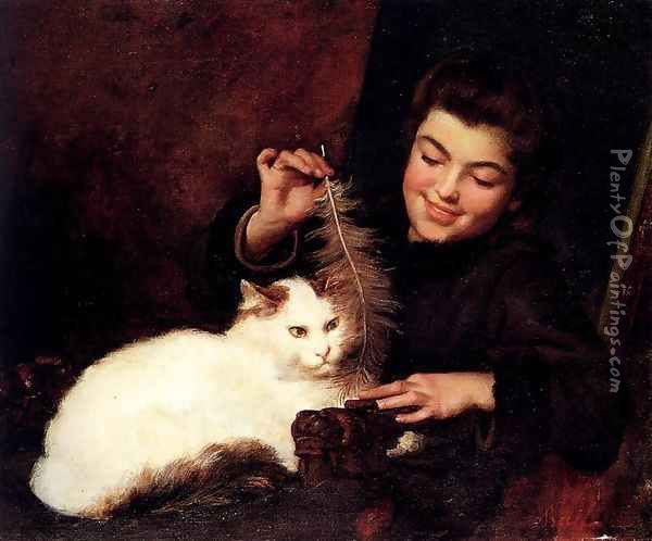 A Young Girl With A White Cat Oil Painting - Antoine Jean Bail