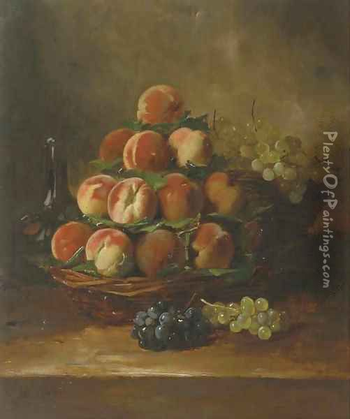 Peaches and grapes in a basket Oil Painting - Antoine Vollon