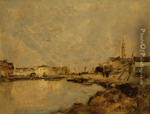 View Of A Village By The Water Oil Painting - Antoine Vollon