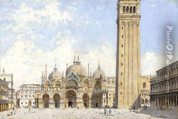 Piazza San Marco with a view of the Basillica and the Campanile, Venice Oil Painting - Antonietta Brandeis
