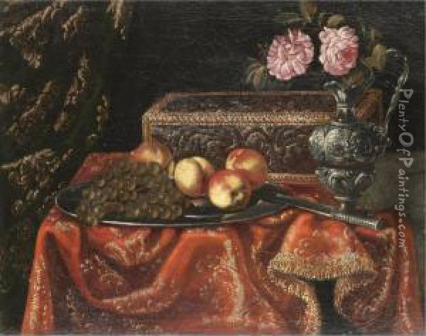 A Still Life With Grapes And  Peaches On A Pewter Plate, Together With An Inlaid Coffer And Roses In A  Pewter Ewer On A Table Draped With A Red Embroidered Cloth Oil Painting - Antonio Gianlisi The Younger