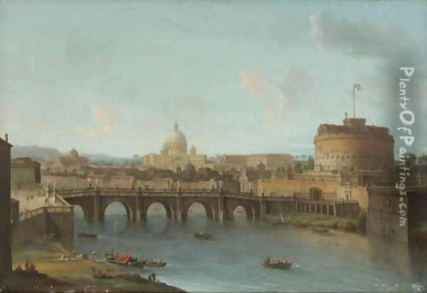 Rome, A View Of The Tiber With The Ponte And Castel Sant'Angelo, St. Peter's Basilica And The Vatican Beyond Oil Painting - Antonio Joli