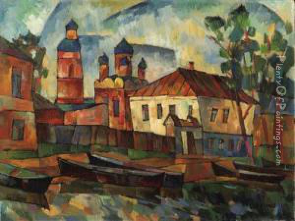Summer Township By A River Oil Painting - Aristarkh Vasilievic Lentulov
