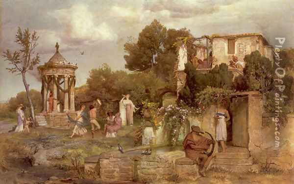 A Tavern in Ancient Rome 1867-68 Oil Painting - Arnold Bocklin