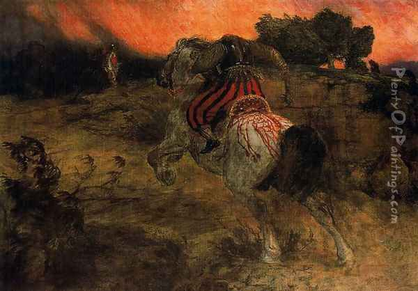 Astolphe fleeing with the head of Orrile Oil Painting - Arnold Bocklin