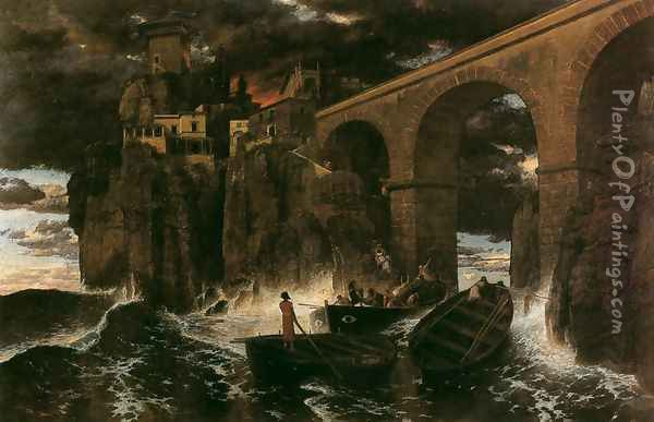 Attack by Pirates Oil Painting - Arnold Bocklin