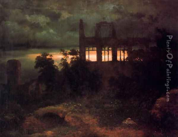 Castle in ruins Oil Painting - Arnold Bocklin