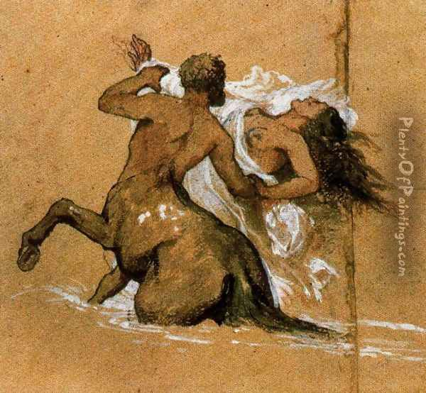Centaur and nymph Oil Painting - Arnold Bocklin