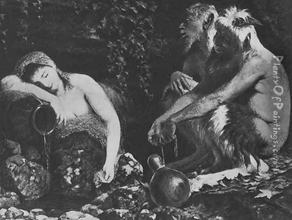 Fauns and Sleeping Nymph Oil Painting - Arnold Bocklin