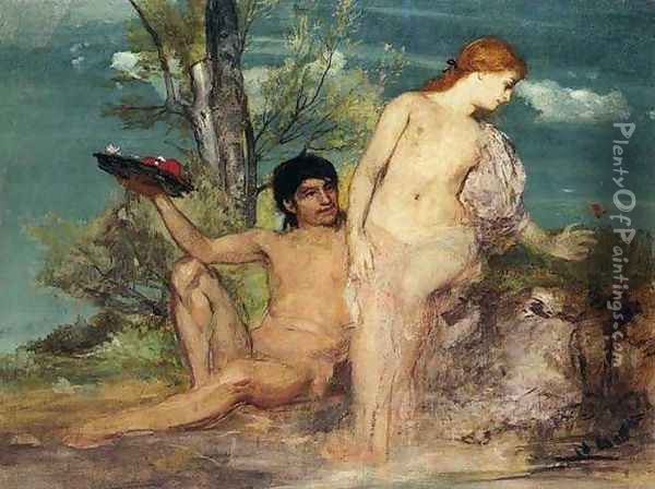 Girl and Boy Picking Flowers Oil Painting - Arnold Bocklin