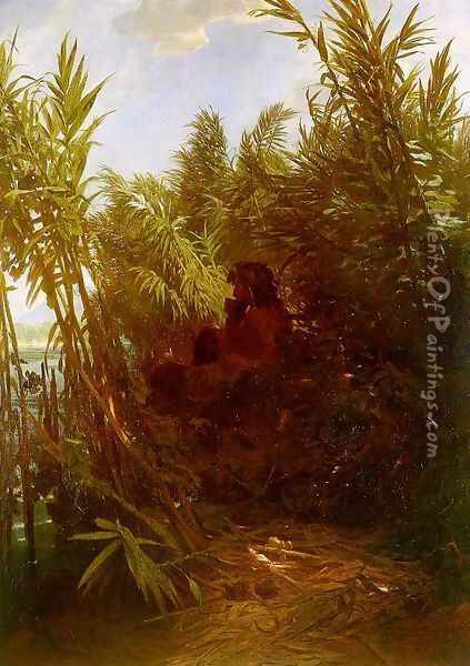 Pan Amongst the Reeds, 1856-57 (2) Oil Painting - Arnold Bocklin