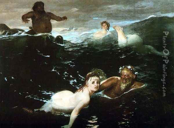 Playing in the Waves Oil Painting - Arnold Bocklin