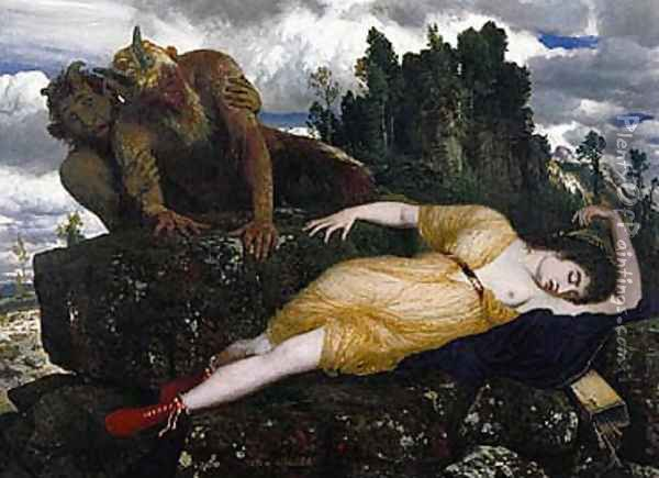 Sleeping Diana Watched by Two Fauns 1877 Oil Painting - Arnold Bocklin
