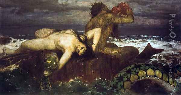 Triton and néréide Oil Painting - Arnold Bocklin