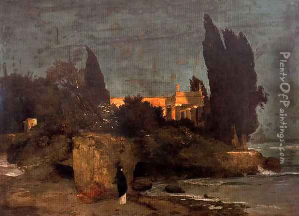 Villa on the seafront (first version) Oil Painting - Arnold Bocklin