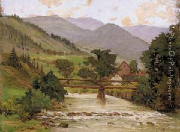 Village End With A Wooden Bridge Oil Painting - Arpad Basch